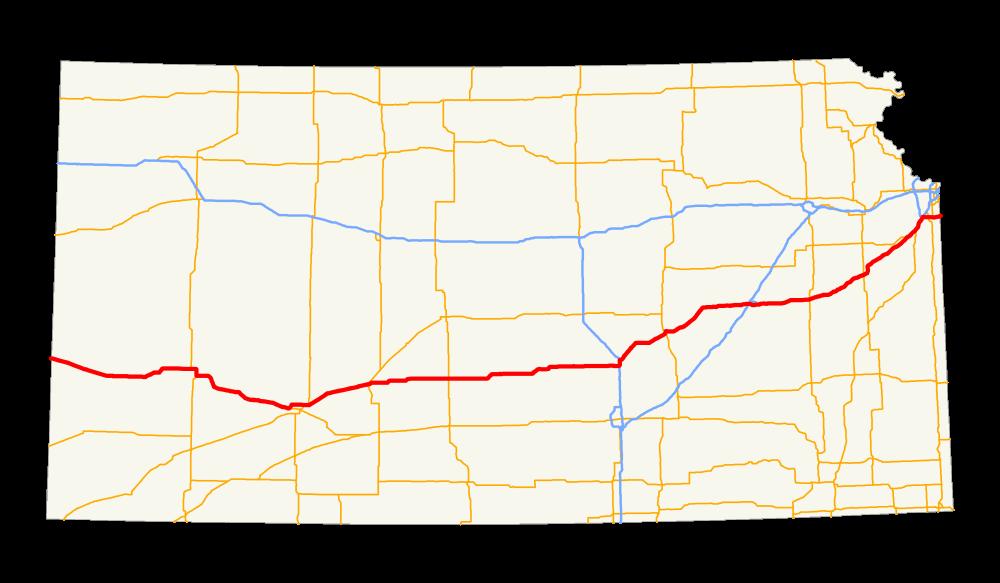 KANSAS - Us route 50 map